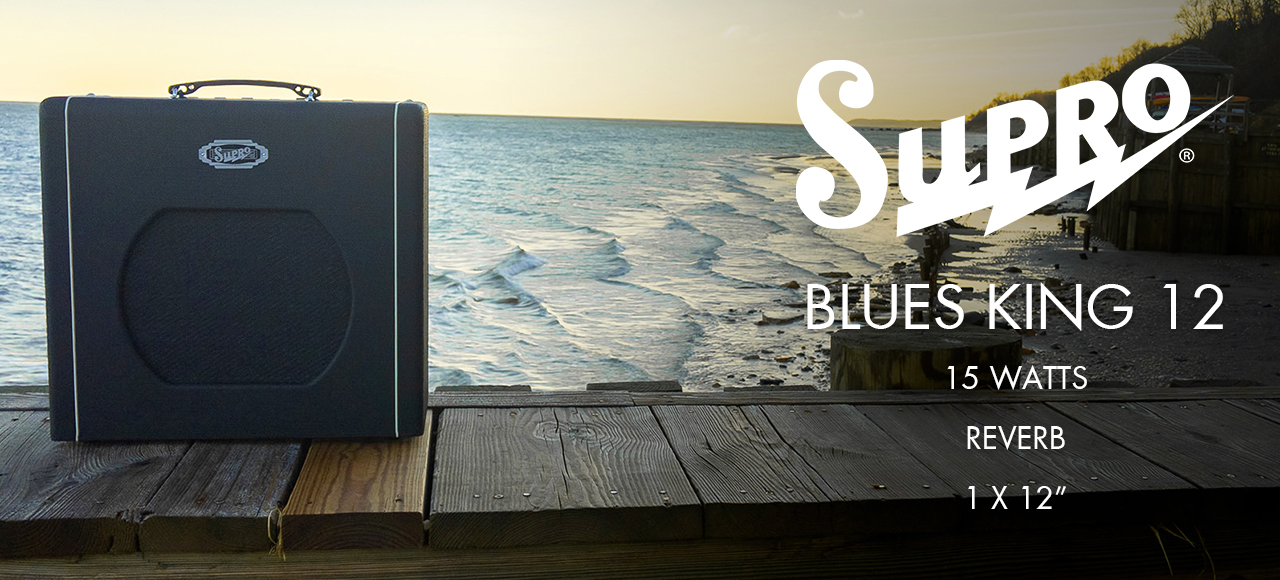 supro blues king guitar amplifier on beach